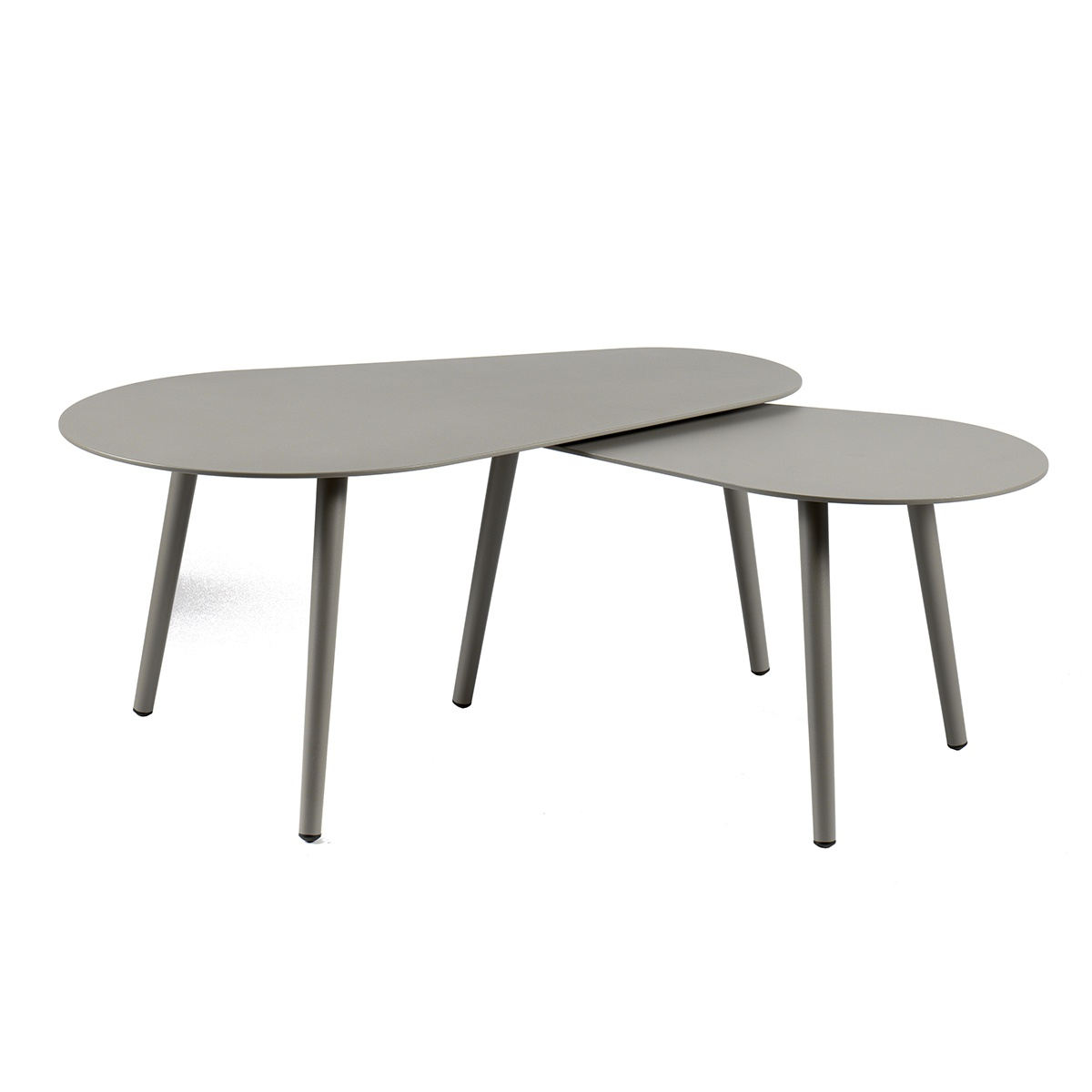 Tables basses gigognes en aluminium gris