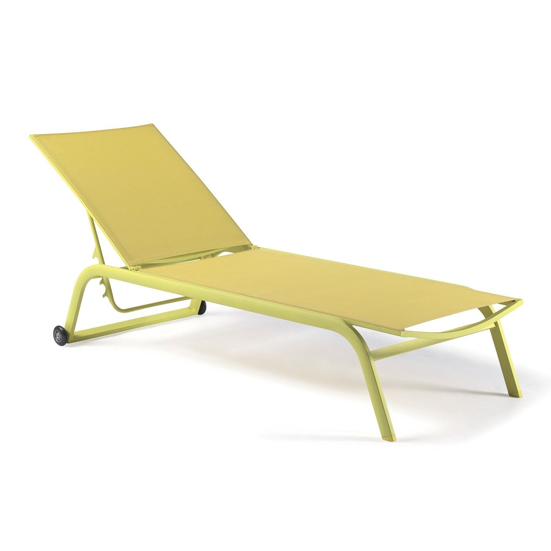 Bain de soleil alu et textilène vert anis