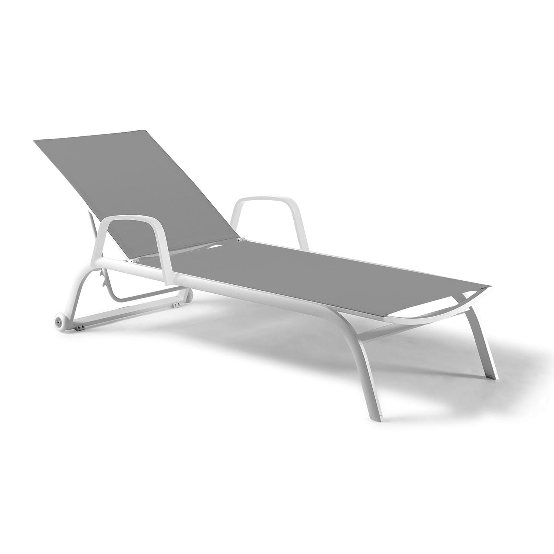 Bain de soleil alu blanc textilène gris