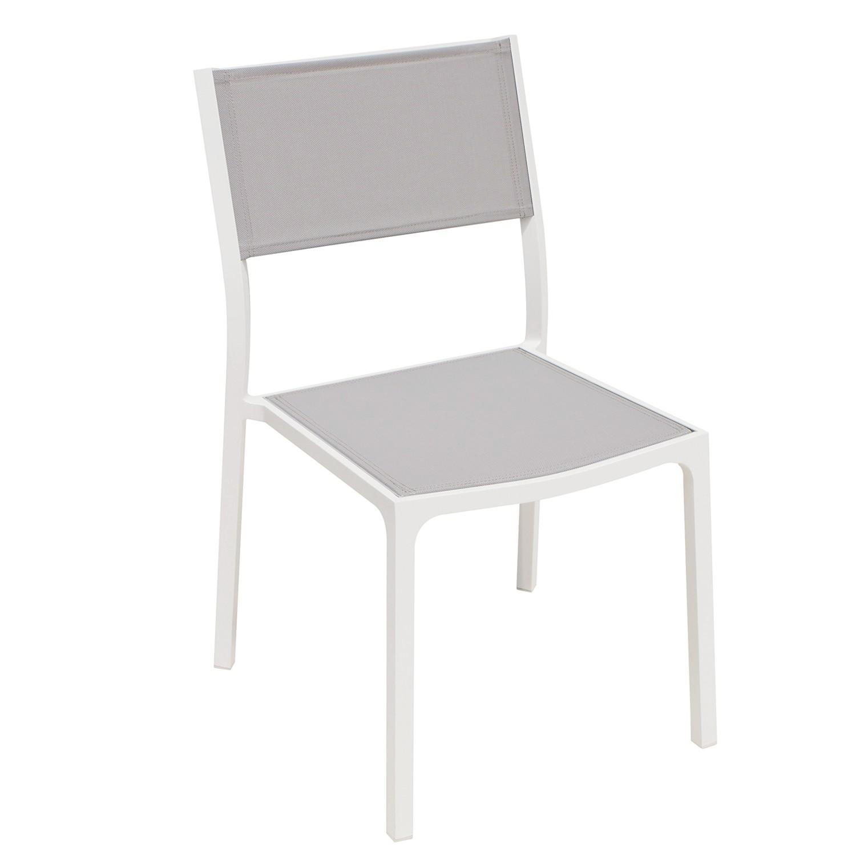Chaise en alu blanc textilène gris clair