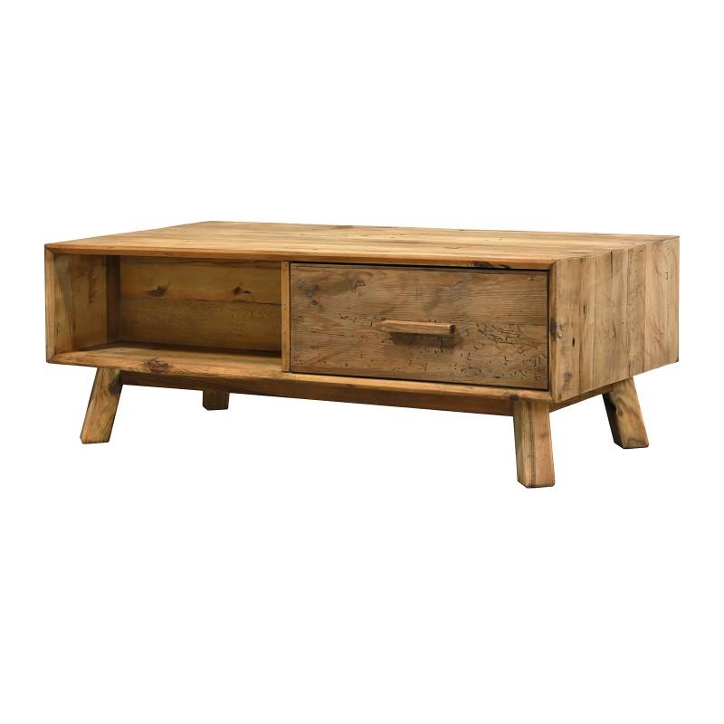 Table basse en bois 2 tiroirs hauteur 43 cm