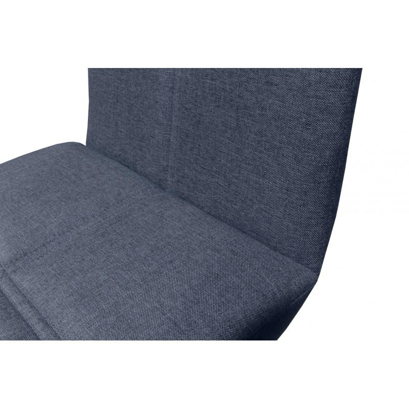 Chaise de bar scandinave tissu bleu jean et piètement en chêne