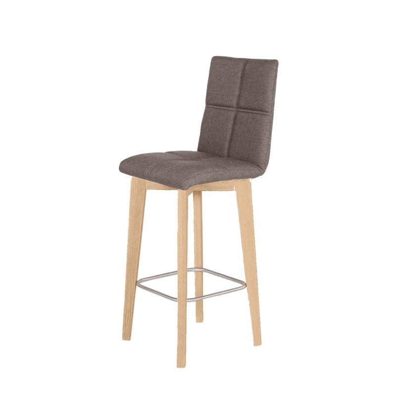 Chaise de bar scandinave en tissu marron et piètement en chêne
