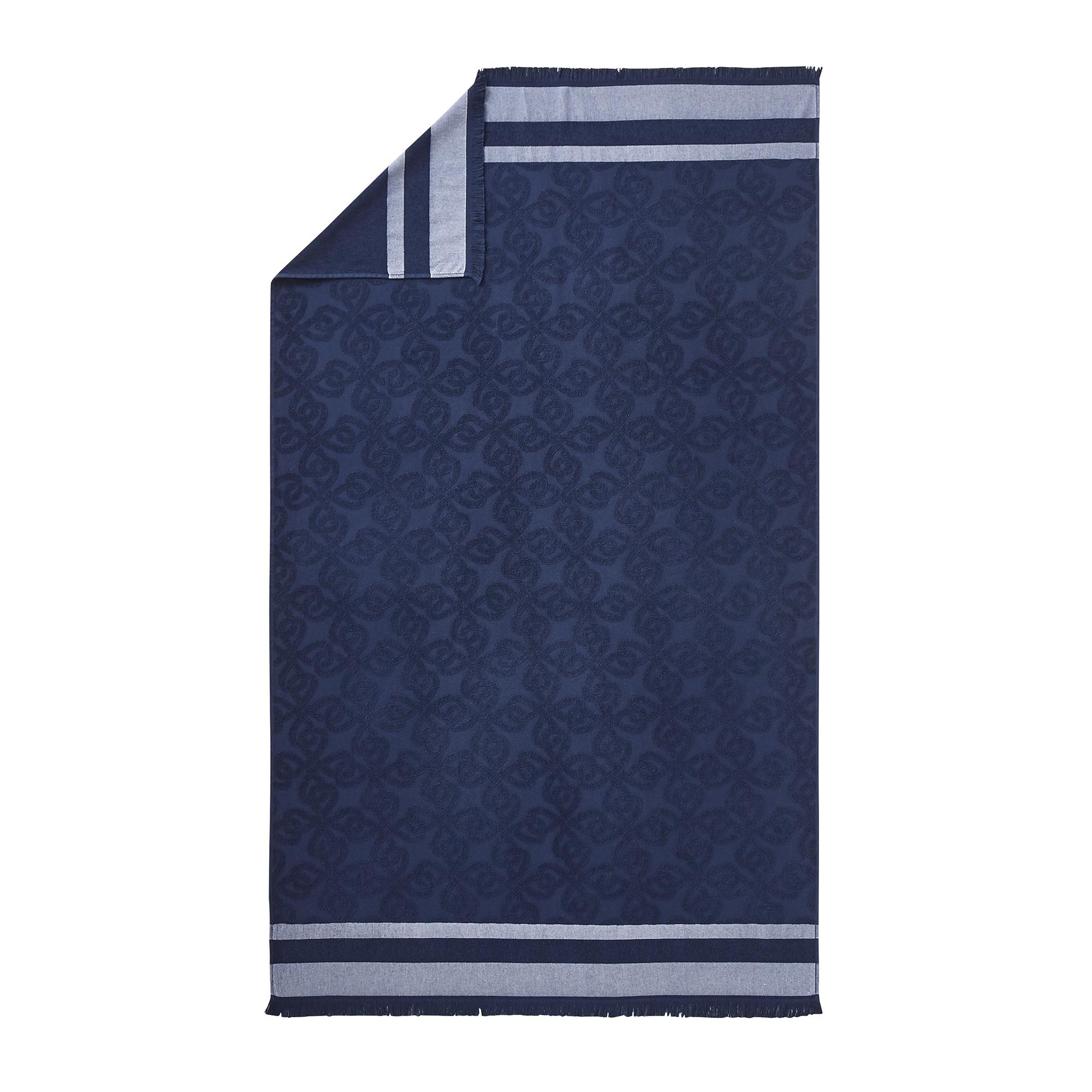 Drap de plage en coton bleu marine 100x180