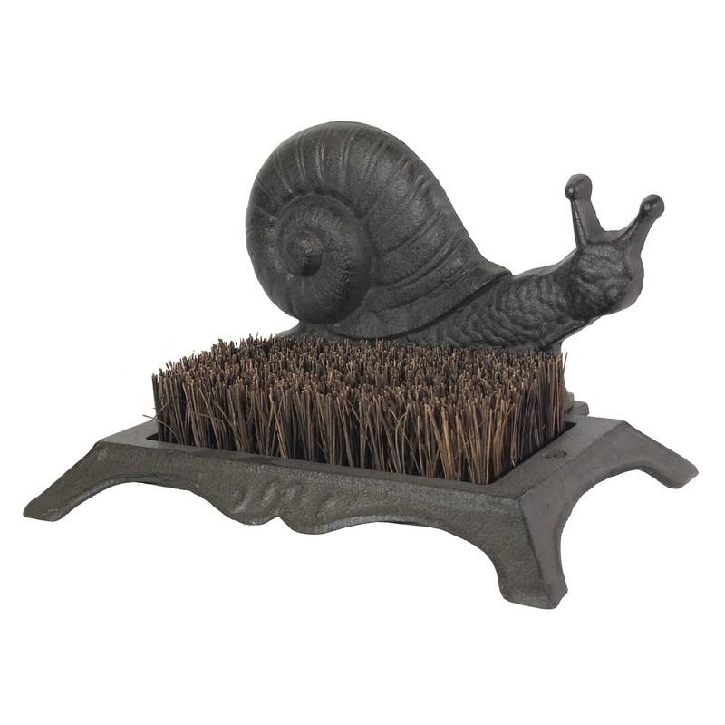 Gratte-pied avec brosse en fibres de coco escargot en fonte