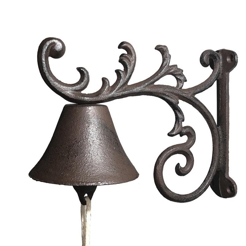 Cloche clochette sonnette carillon de porte volute jardin fonte 18x21