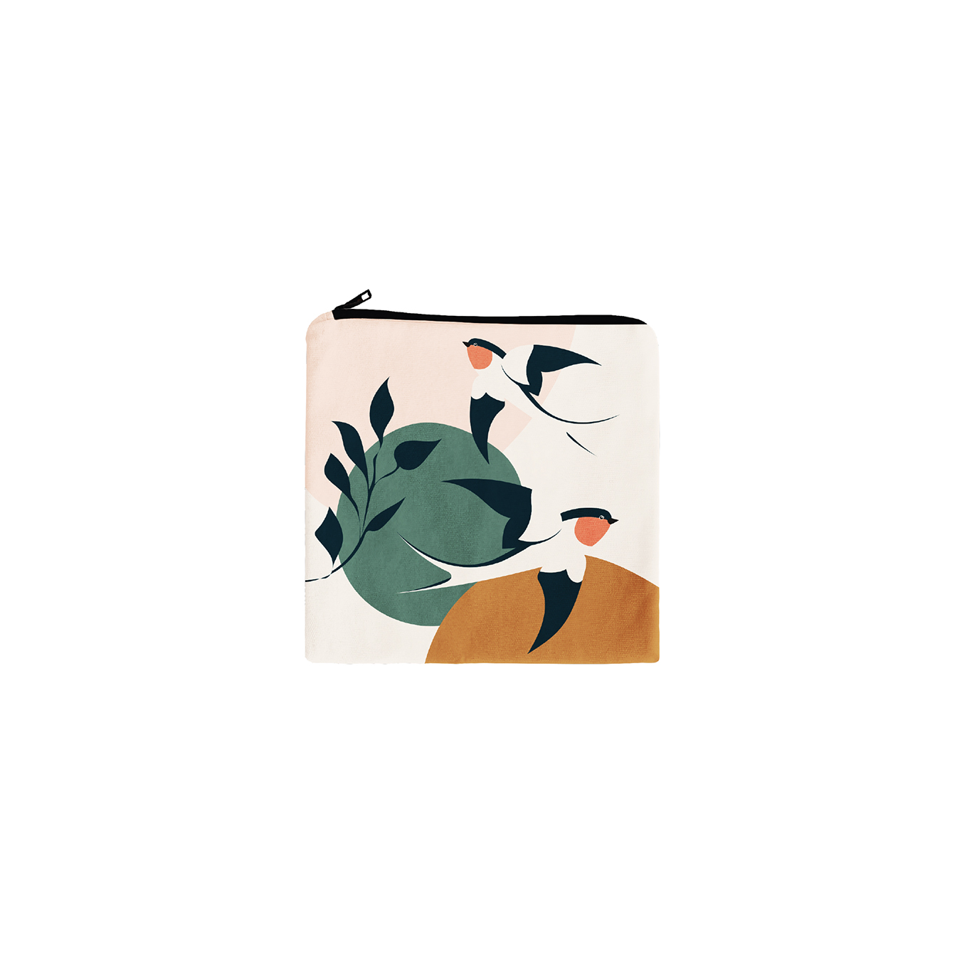 Trousse carrée en coton hirondelles