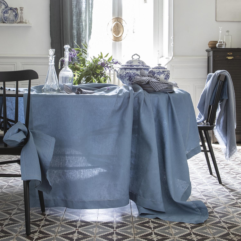 Nappe en lin bleu egée 170x170cm