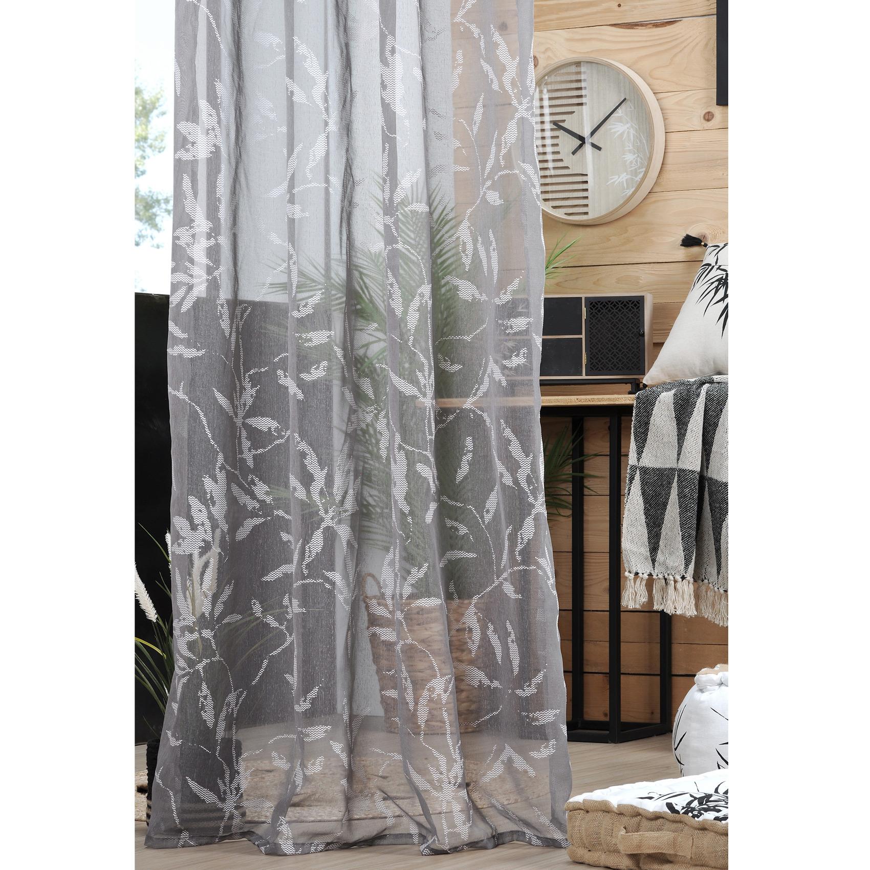Voilage à œillets imprimé fengshui polyester taupe 260x140
