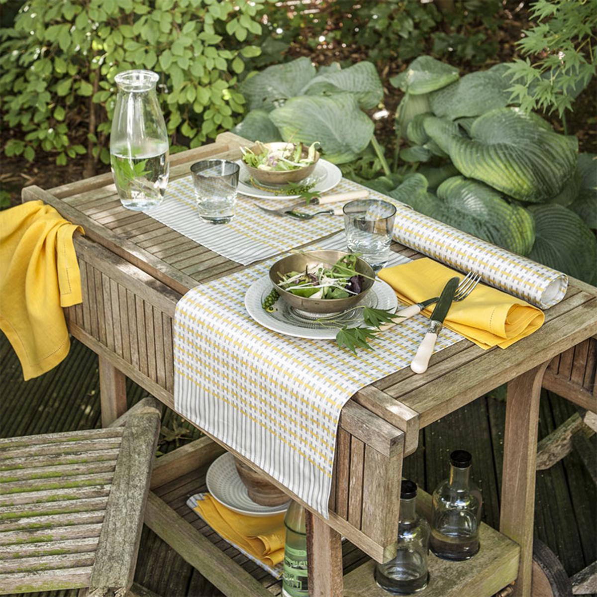 Chemin de table en satin de coton jaune 55x140