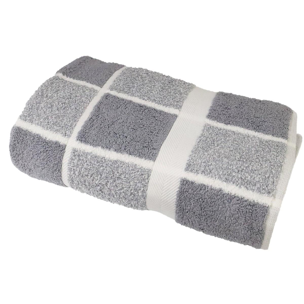 Drap de douche éponge à carreaux en coton gris 70x140 cm