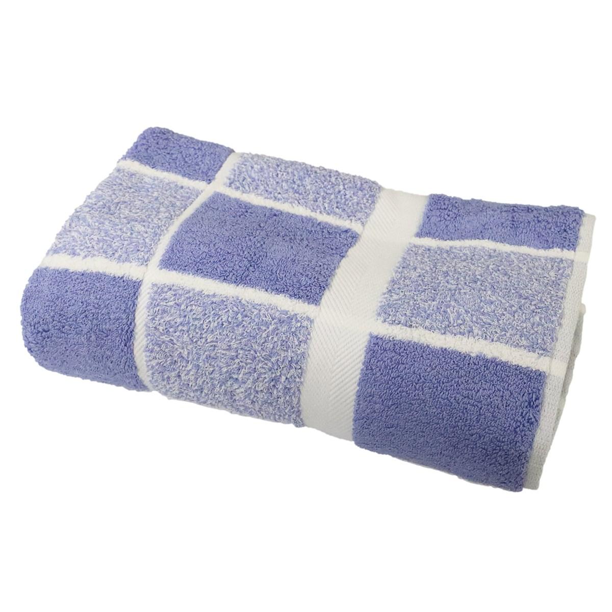 Drap de douche éponge à carreaux en coton bleu 70x140 cm