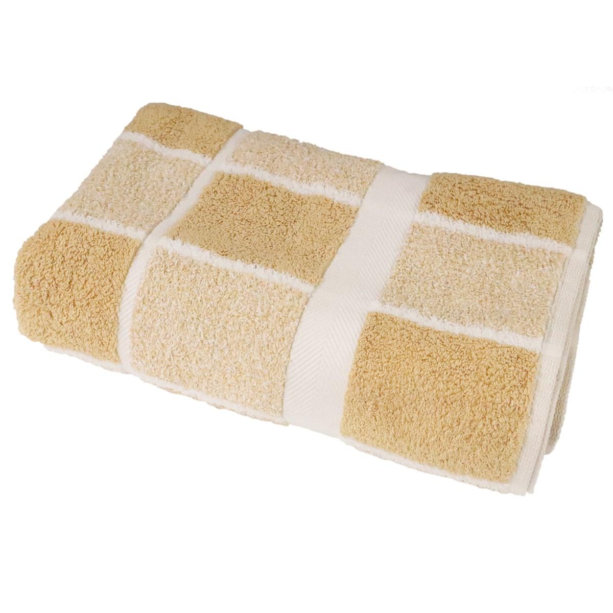 Drap de douche éponge à carreaux en coton beige 70x140 cm