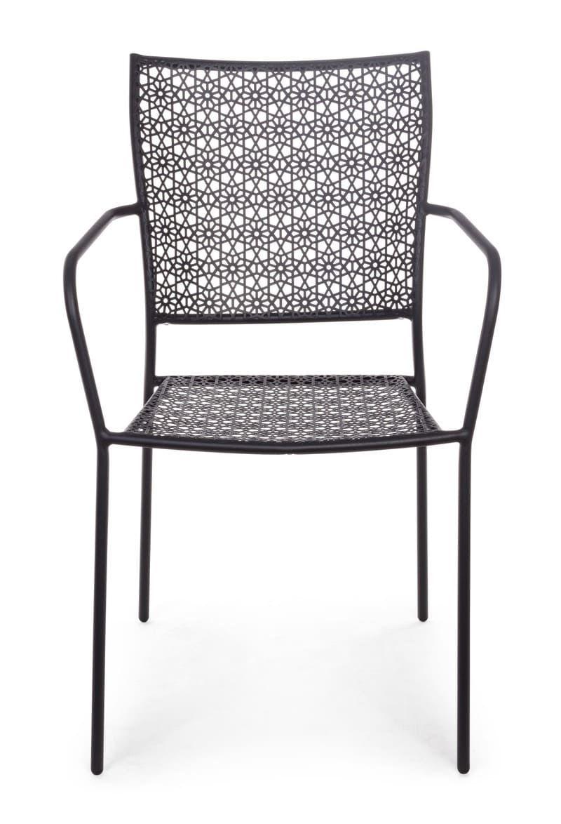 Chaise de jardin en acier empilable gris