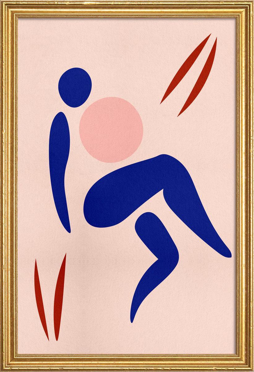 Affiche avec cadre en bois (Doré) en Bleu & Rose/20x30