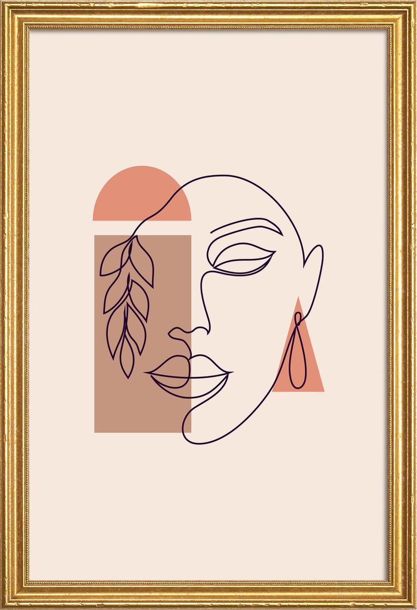 Affiche avec cadre en bois (Doré) en Blanc ivoire/60x90