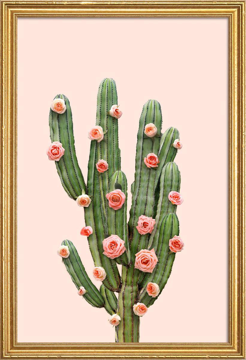 Affiche avec cadre en bois (Doré) en Rose & Vert/60x90