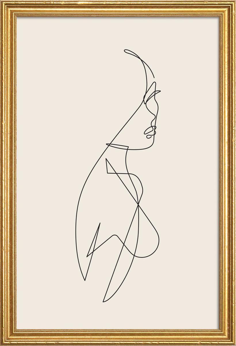 Affiche avec cadre en bois (Doré) en Blanc ivoire & Noir/20x30