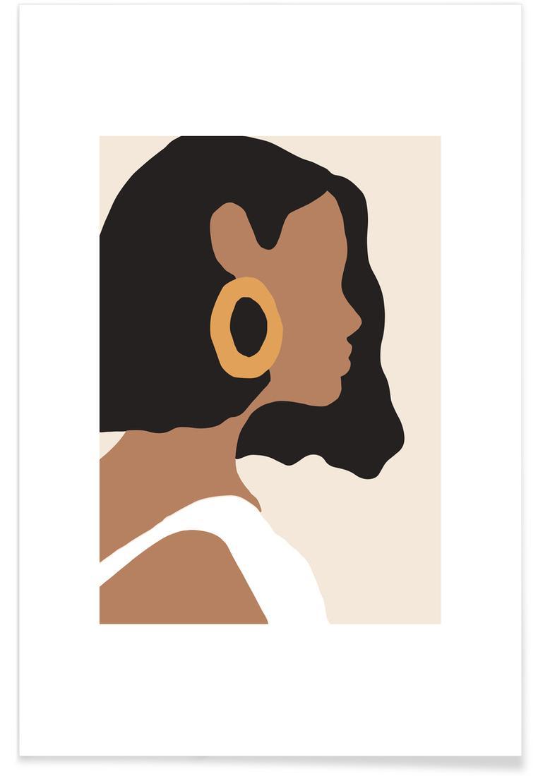 Affiche en Blanc ivoire & Marron/30x45