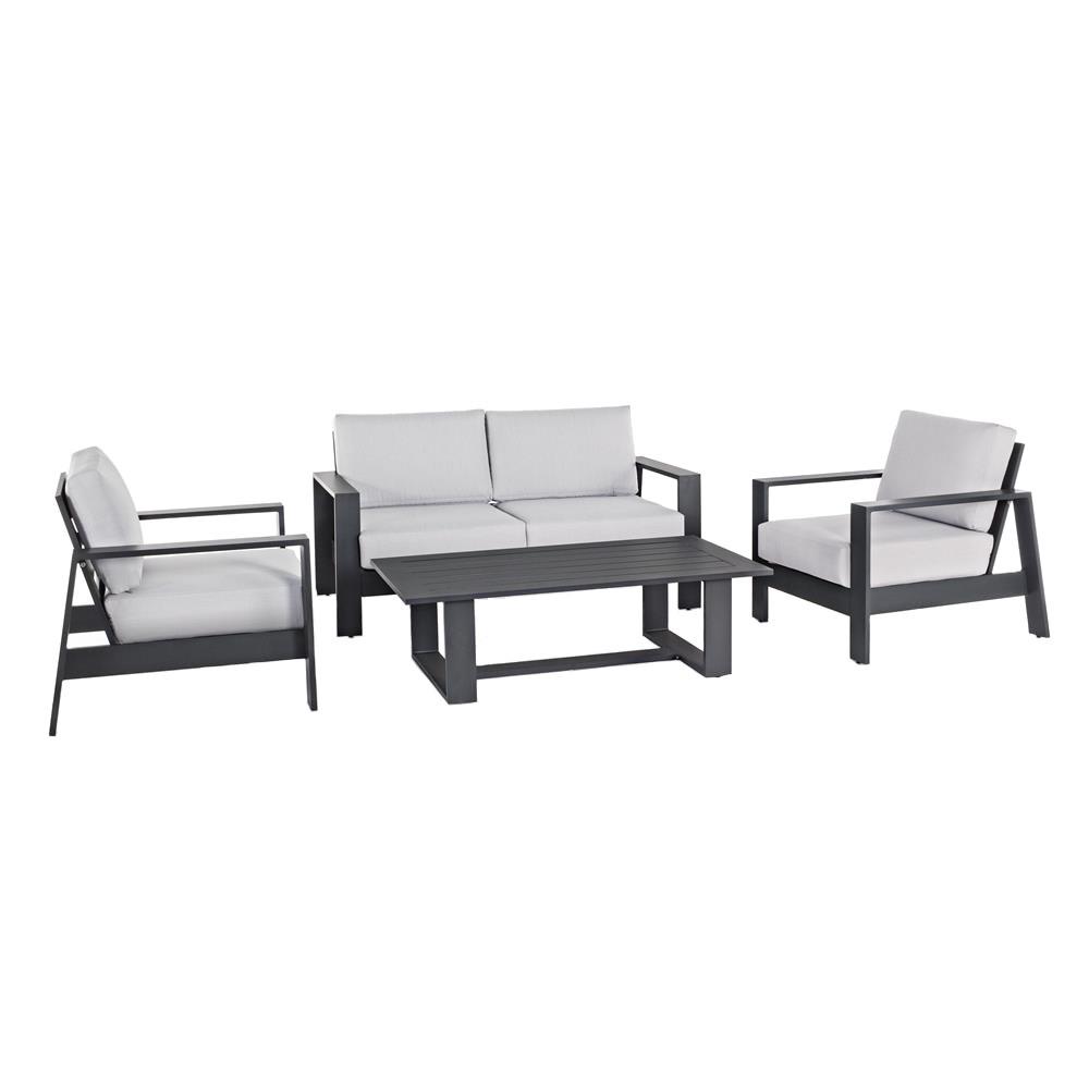 Salon de détente 4 places en aluminium noir coussins gris clair