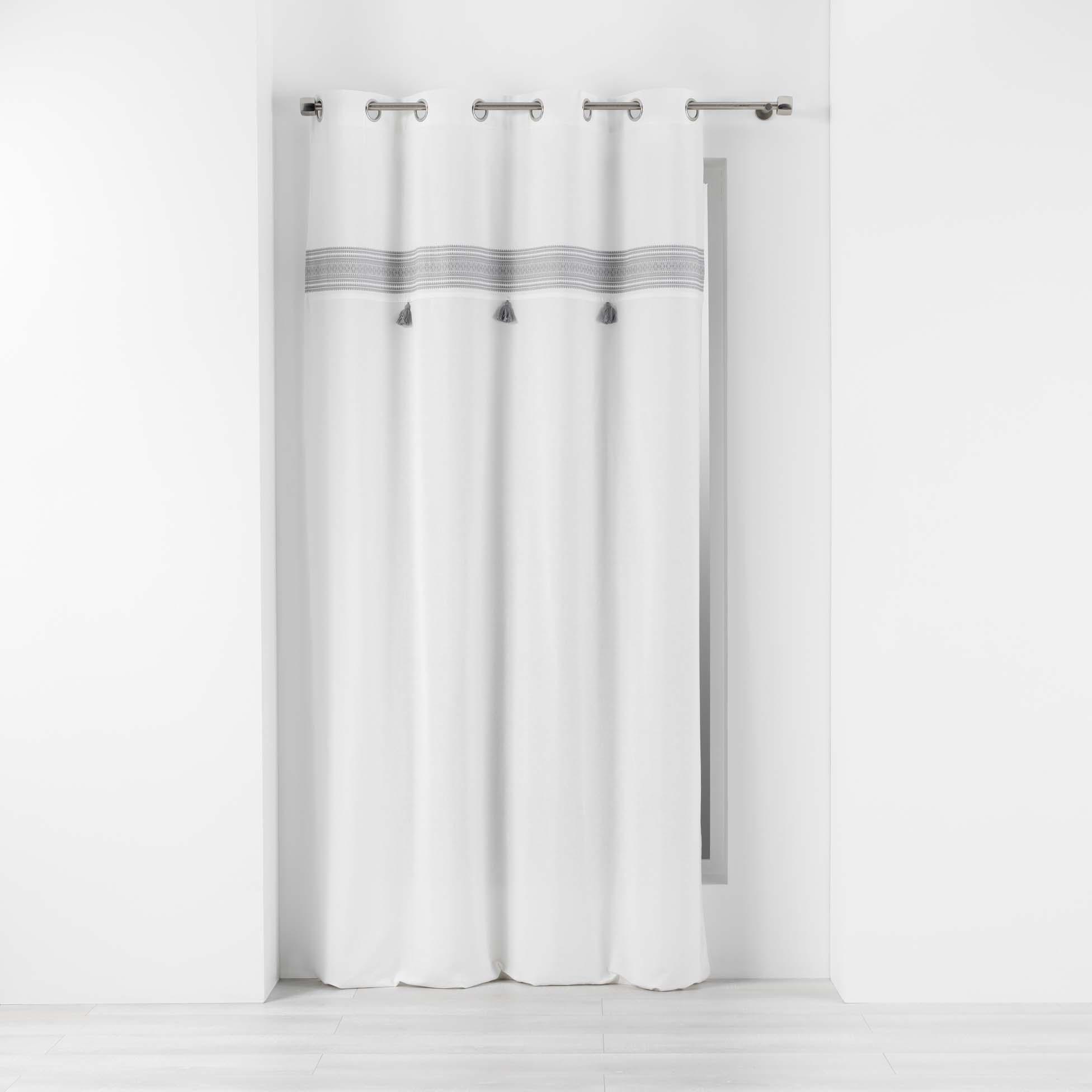Rideau brodé à pompons amaya coton gris 240x140