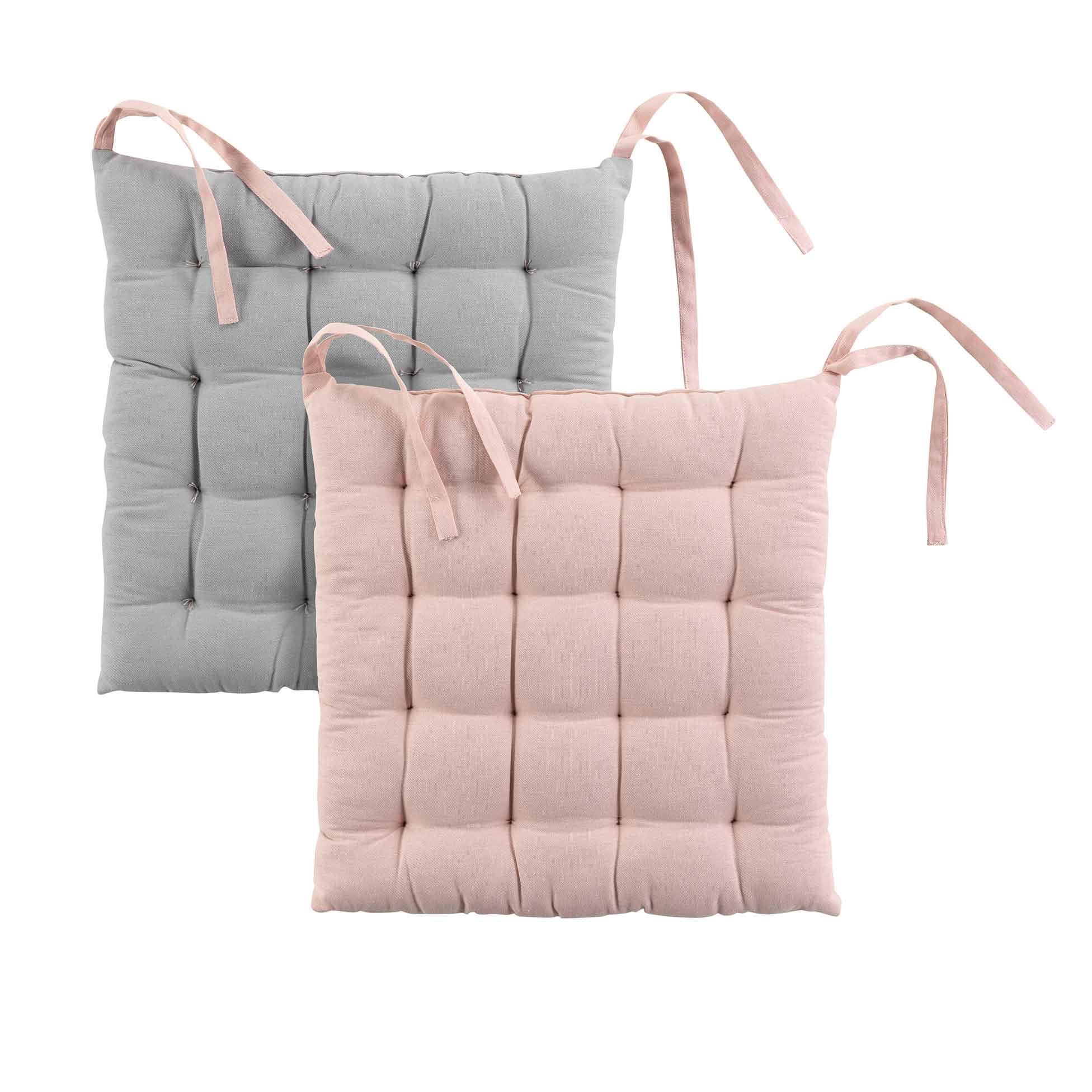 Galette de chaise matelassée bicolore coton rose/gris 40x40