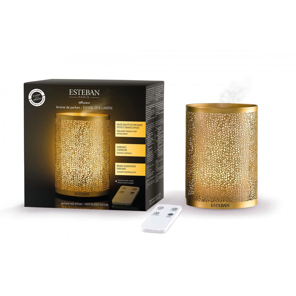 Diffuseur brume de parfum or et lumière