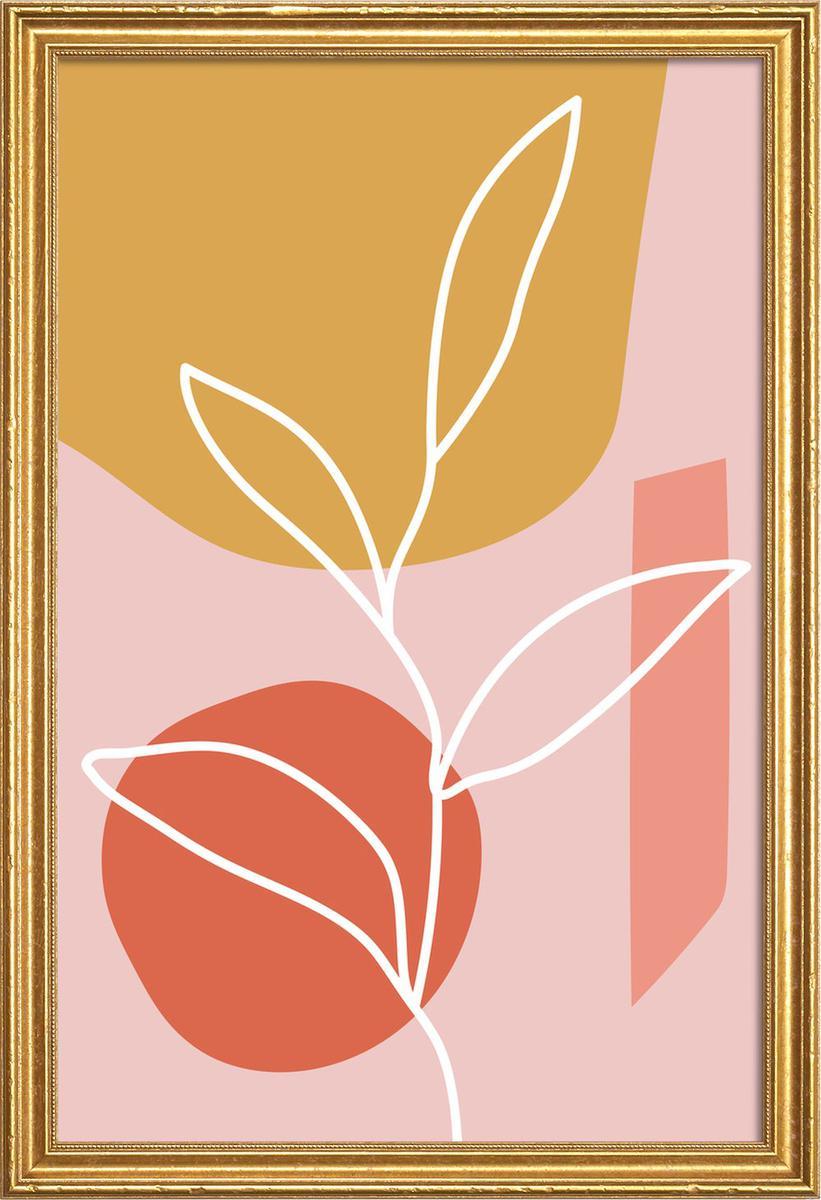 Affiche avec cadre en bois (Doré) en Jaune & Rose/60x90