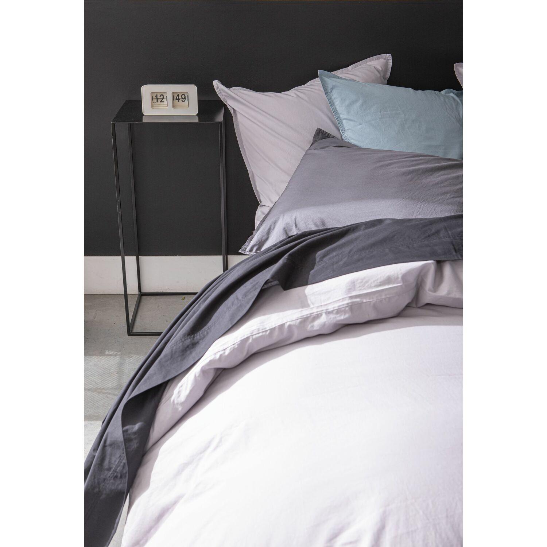 Draps plat coton gris 240x300 cm