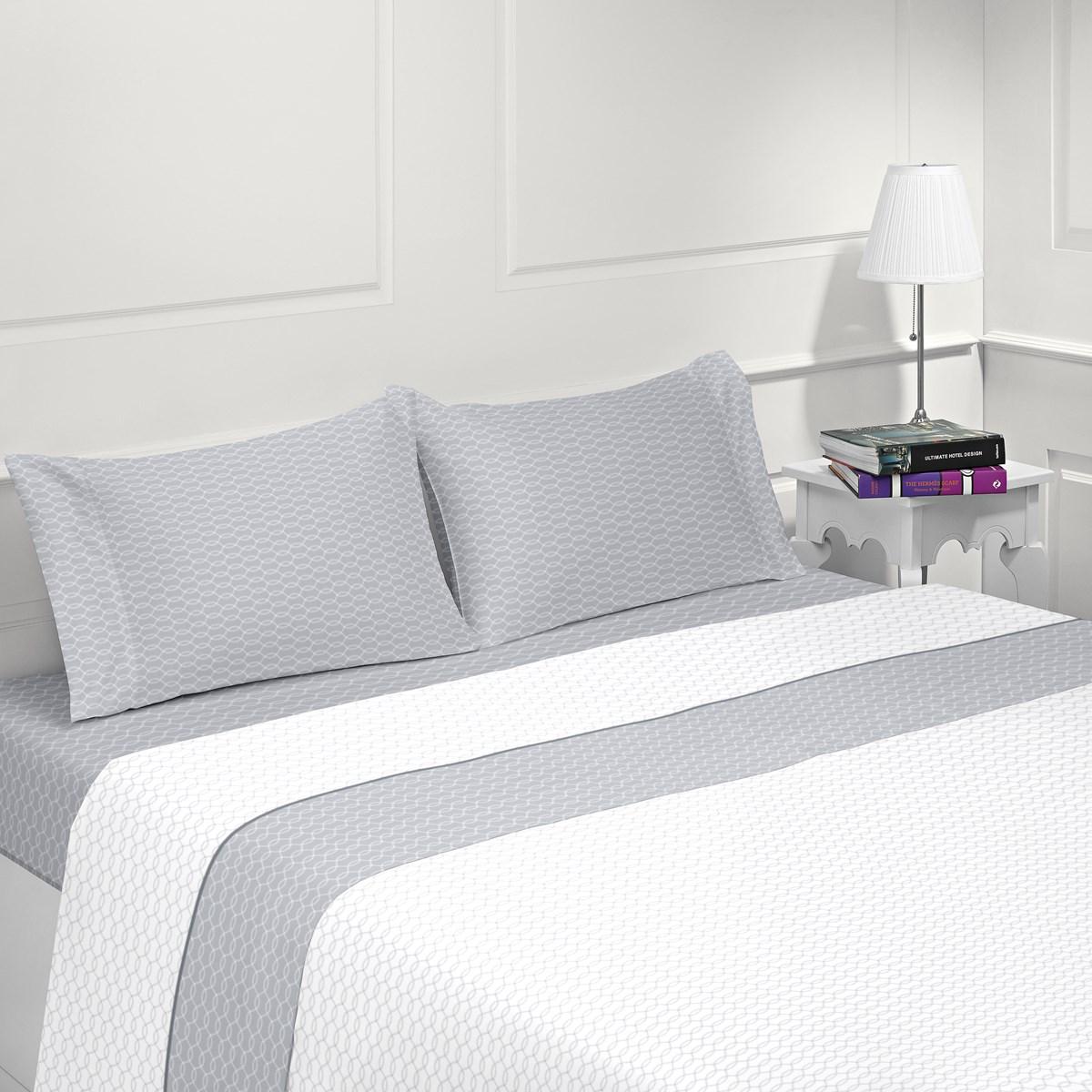 Parure de drap flanelle en coton gris clair 160x200 cm (photo)