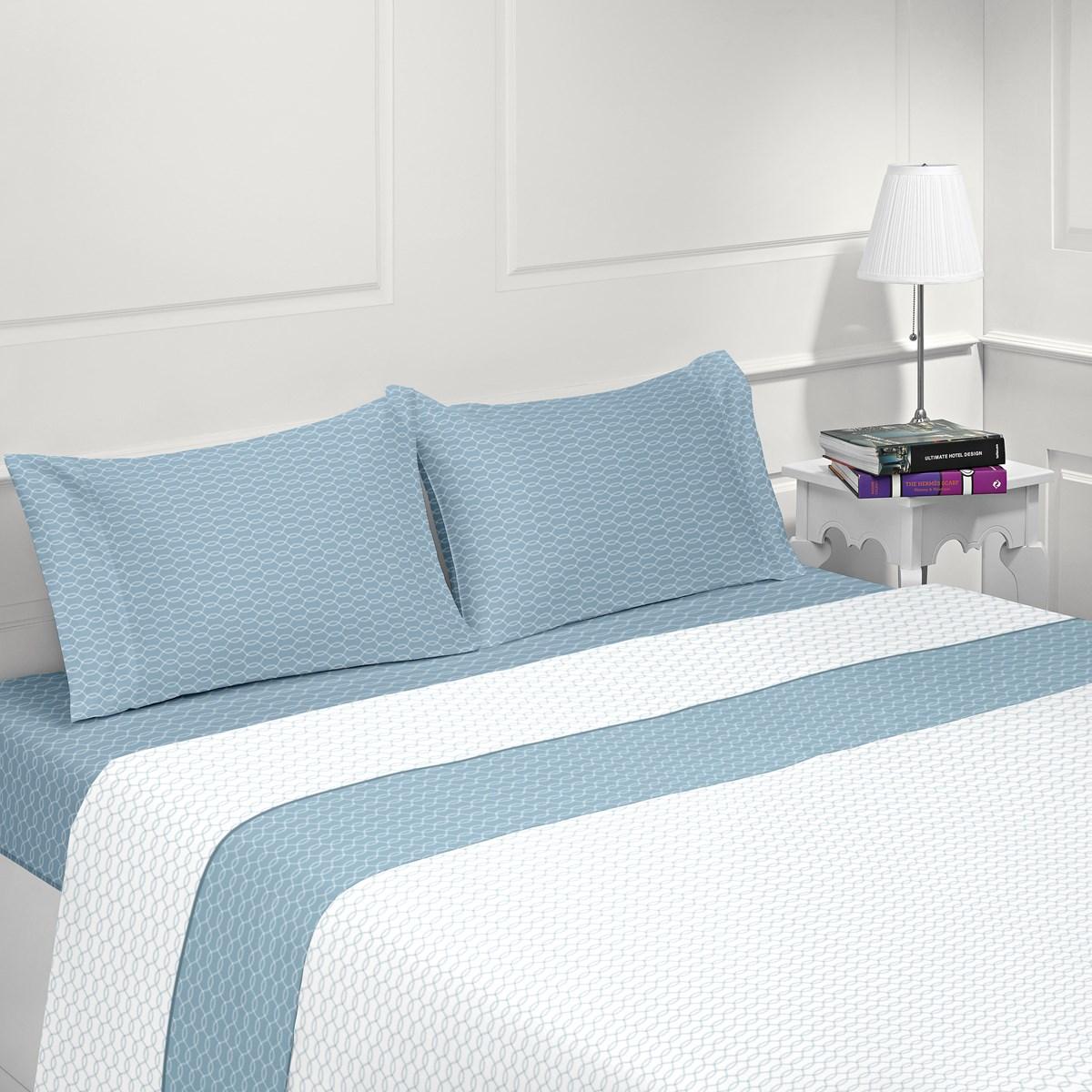 Parure de drap flanelle en coton bleu 180x200 cm (photo)