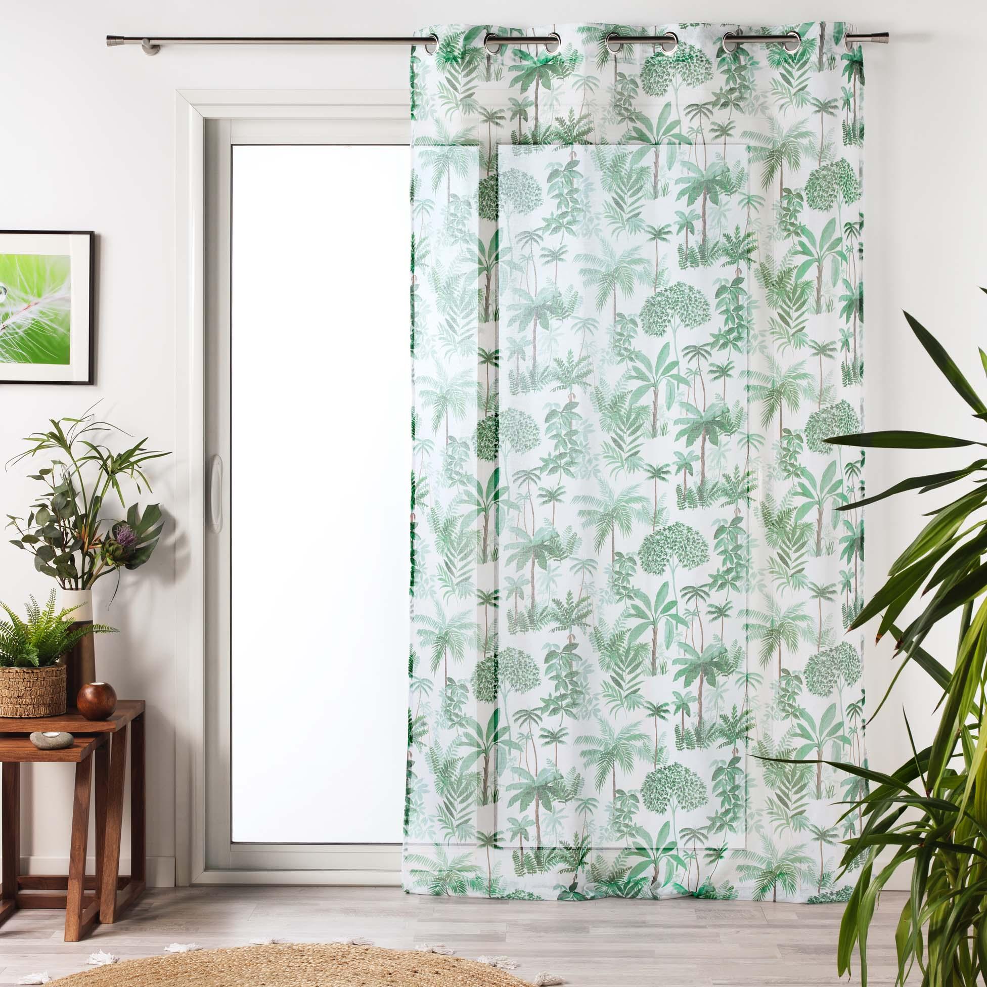 Voilage à œillets imprimé amazonia polyester vert 240x140
