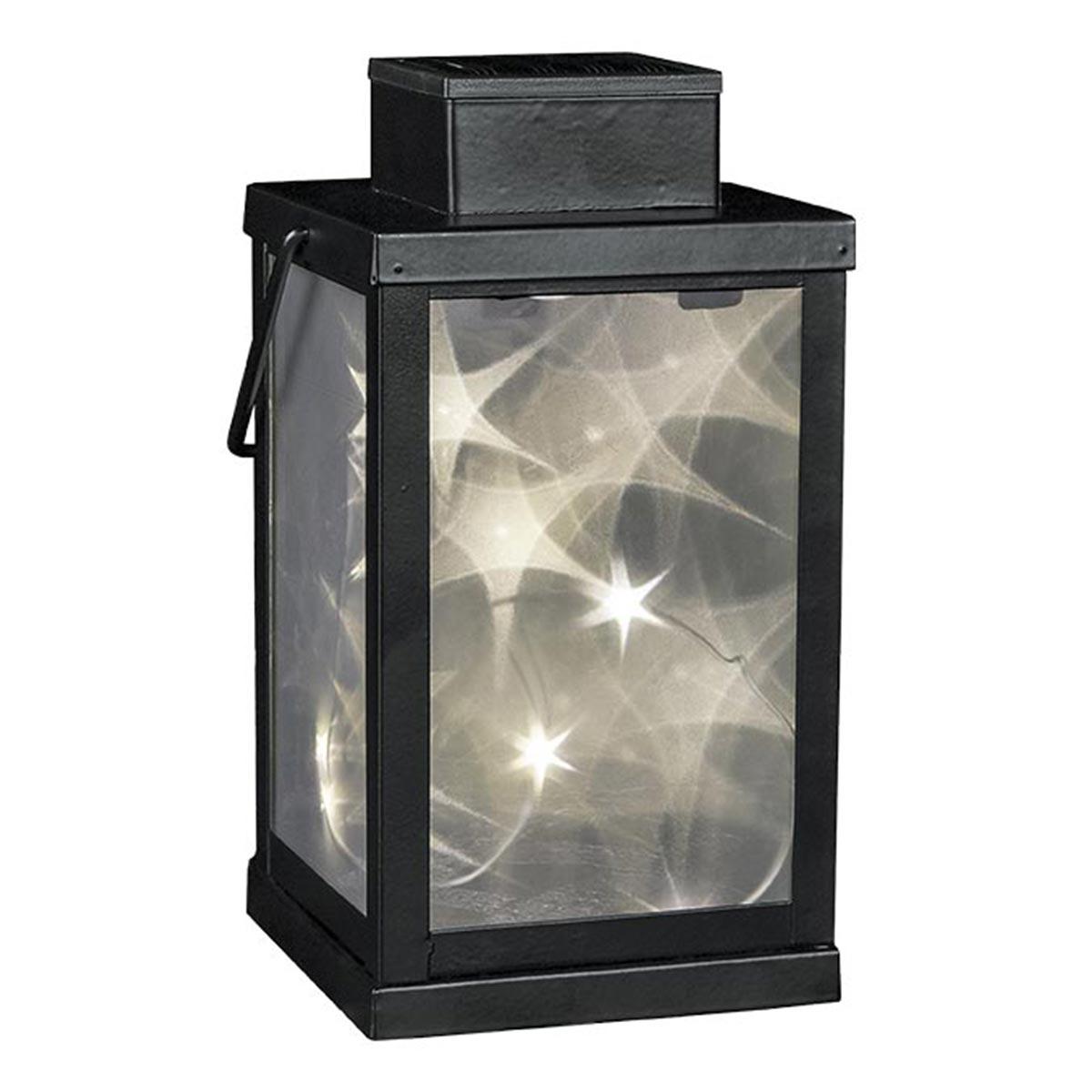 Lanterne 3D solaire étoile acier noir H24cm