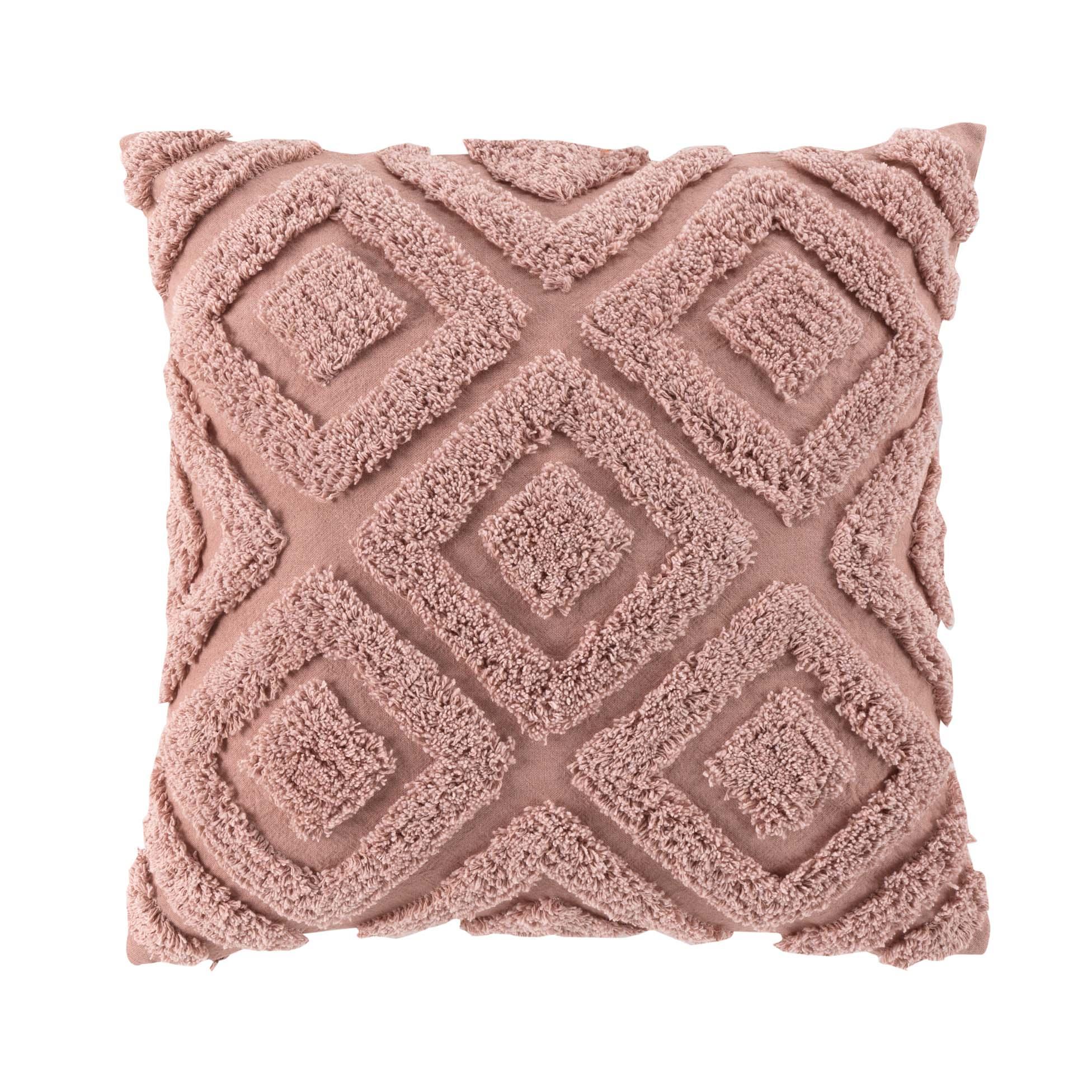Coussin motifs losanges en relief coton rose 45x45