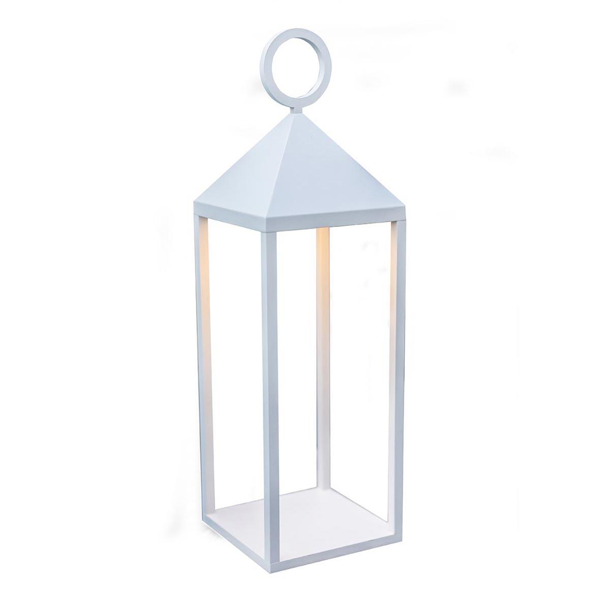 Lanterne sans fil aluminium blanc H47cm