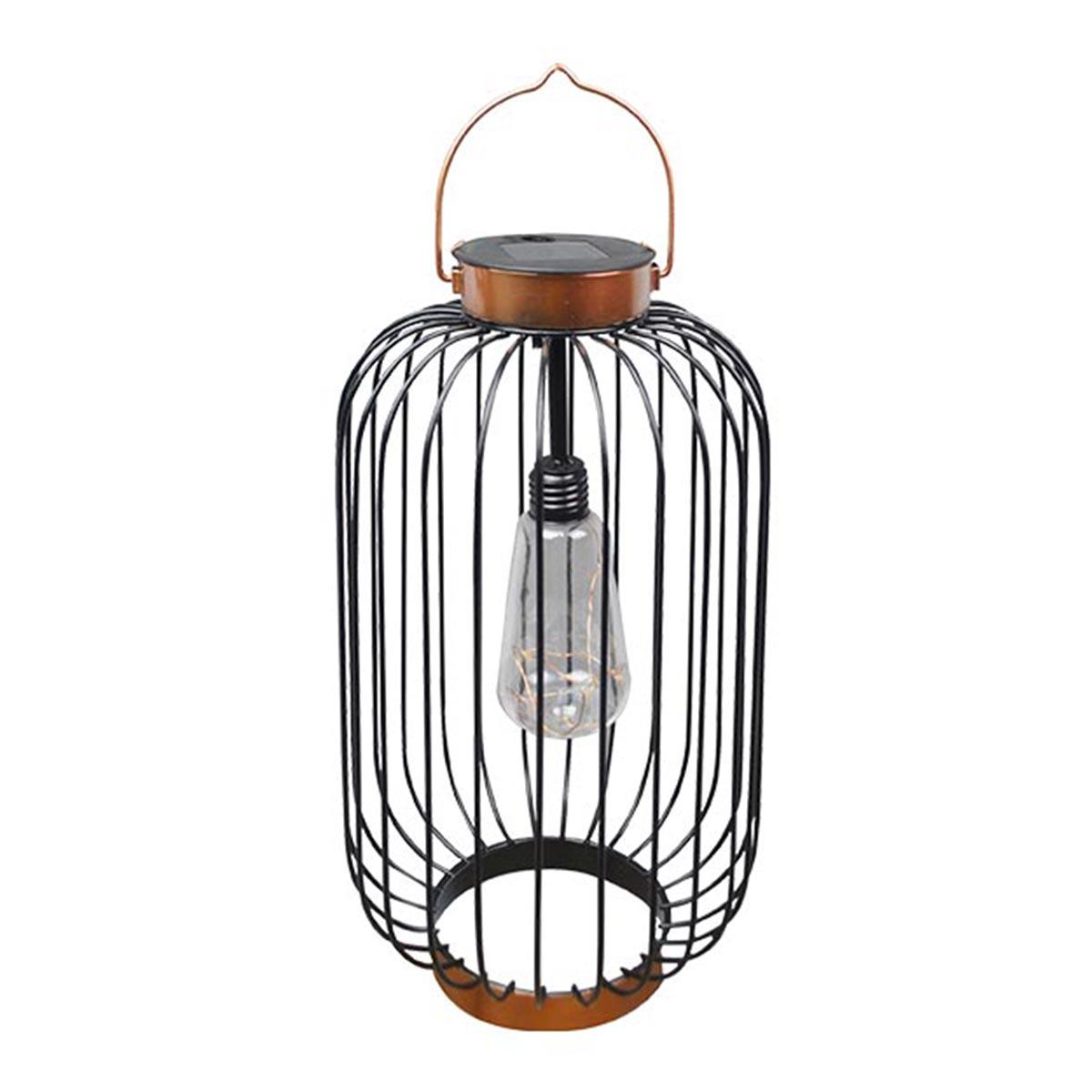 COCO SLIM-Lanterne solaire cage métallique acier noir H41cm