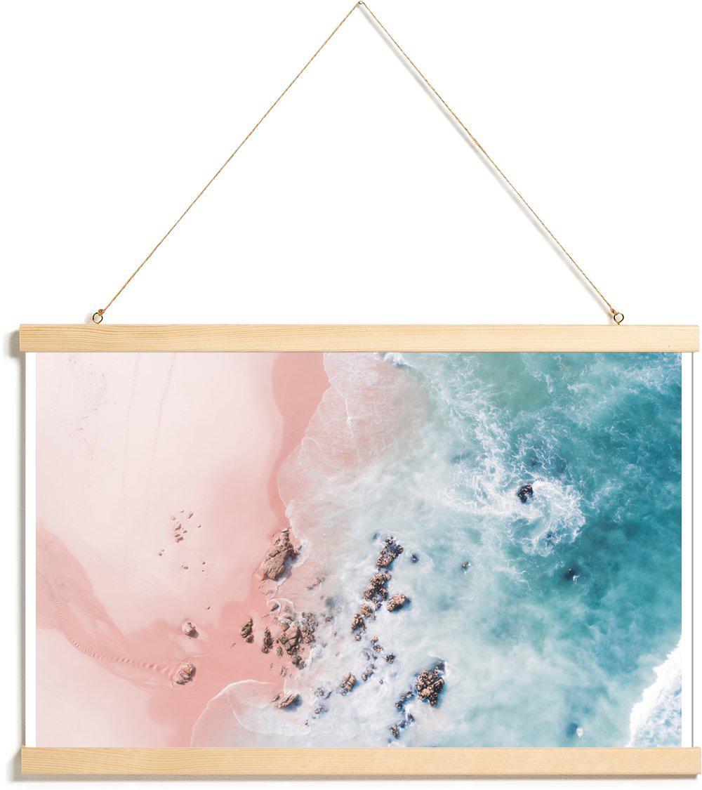 Affiche avec baguettes de suspension en Rose & Turquoise/20x30