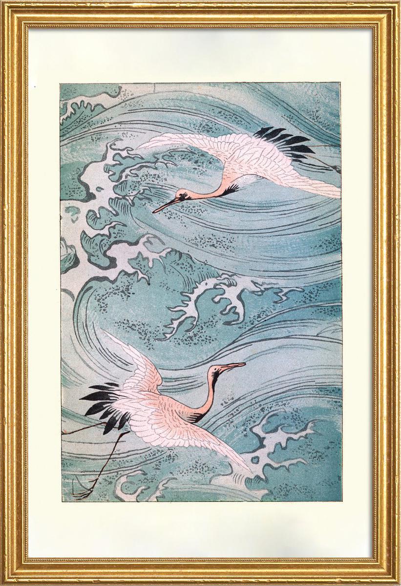Affiche avec cadre en bois (Doré) en Blanc ivoire & Rose/60x90