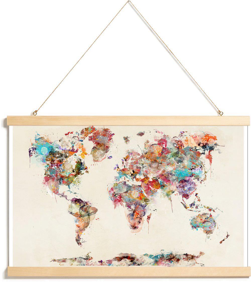 Affiche avec baguettes de suspension en Marron & Multicolore/20x30