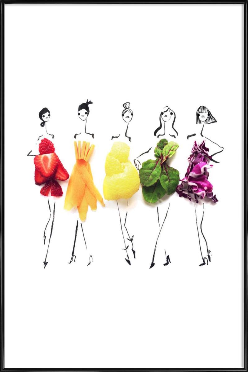 Affiche avec cadre standard (Noir) en Blanc & Multicolore/30x45