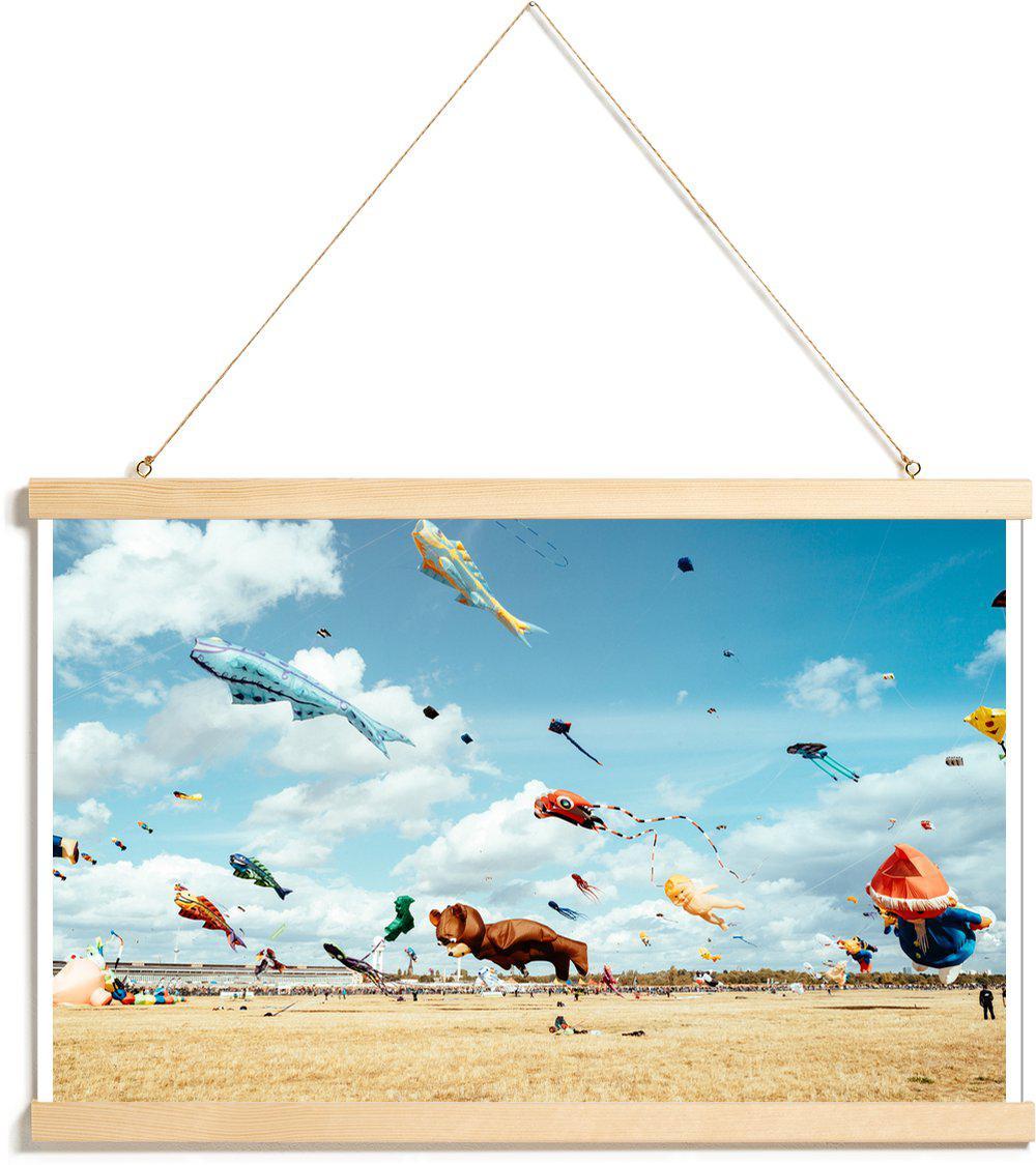 Affiche avec baguettes de suspension en Bleu & Multicolore/40x60