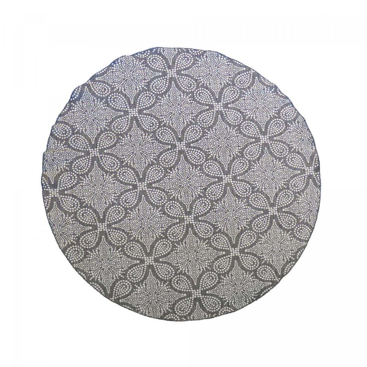 Tapis extérieur en polypropylène gris 160x160 rond