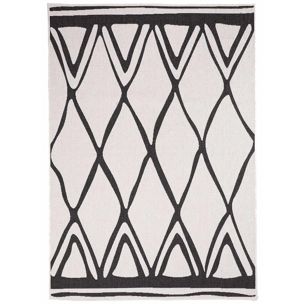 Tapis berbère style en polypropylène noir 80x150