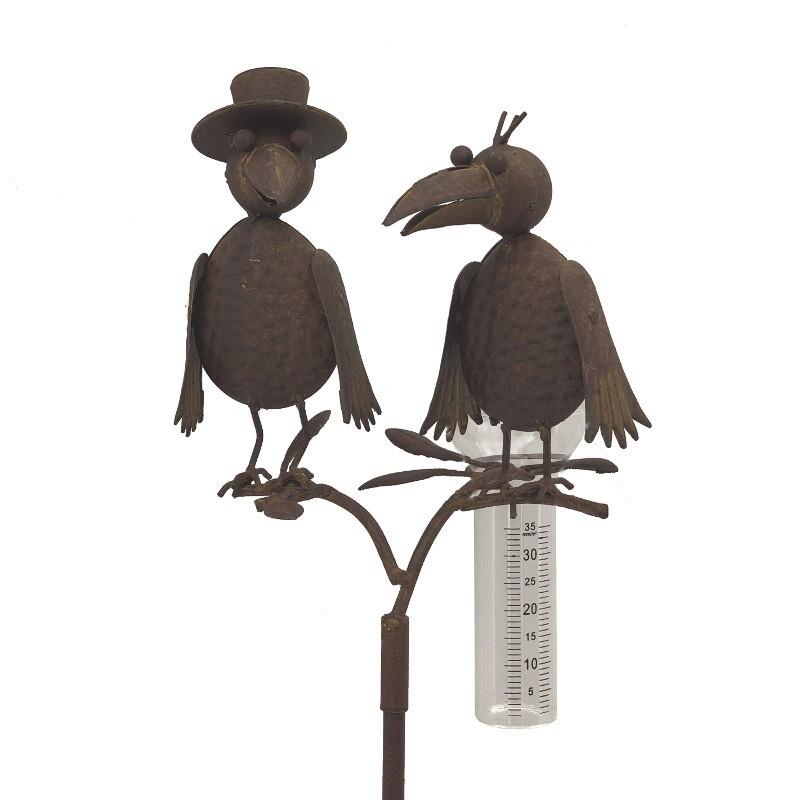 Pluviomètre sur pic tuteur corbeaux en fer