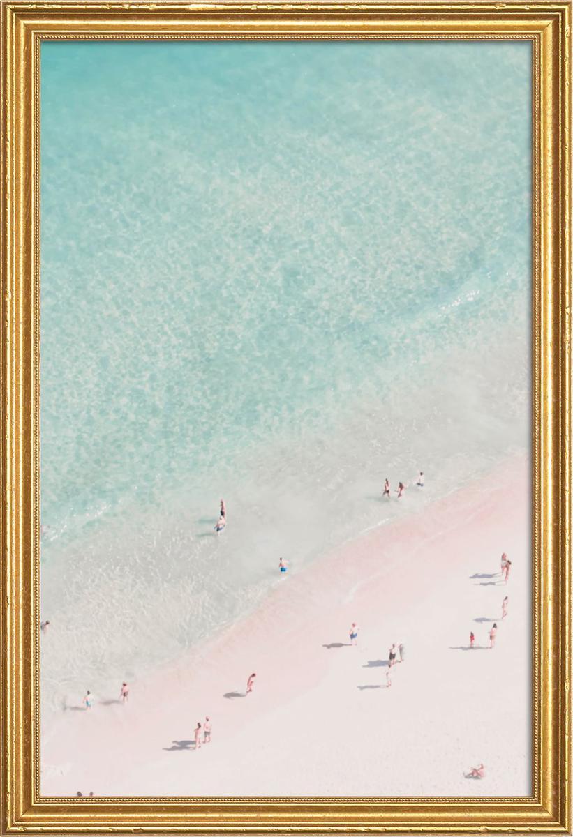 Affiche avec cadre en bois (Doré) en Blanc ivoire & Turquoise/20x30