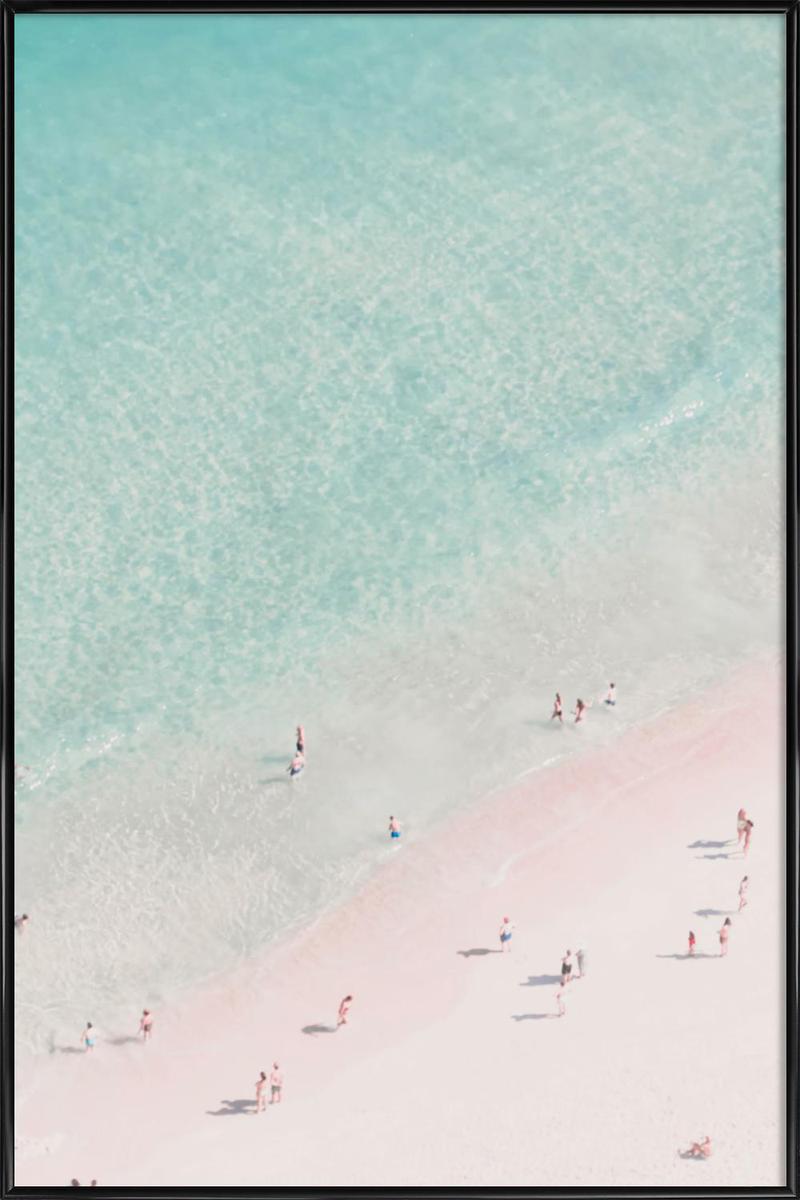 Affiche avec cadre standard (Noir) en Blanc ivoire & Turquoise/60x90