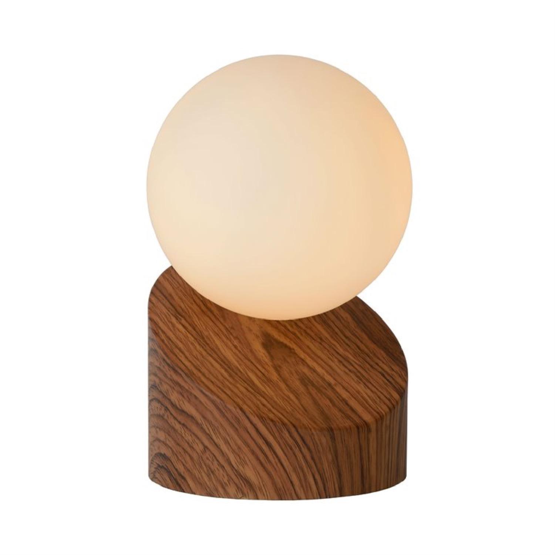 Lampe à poser bois et verre interrupteur tactile D10cm