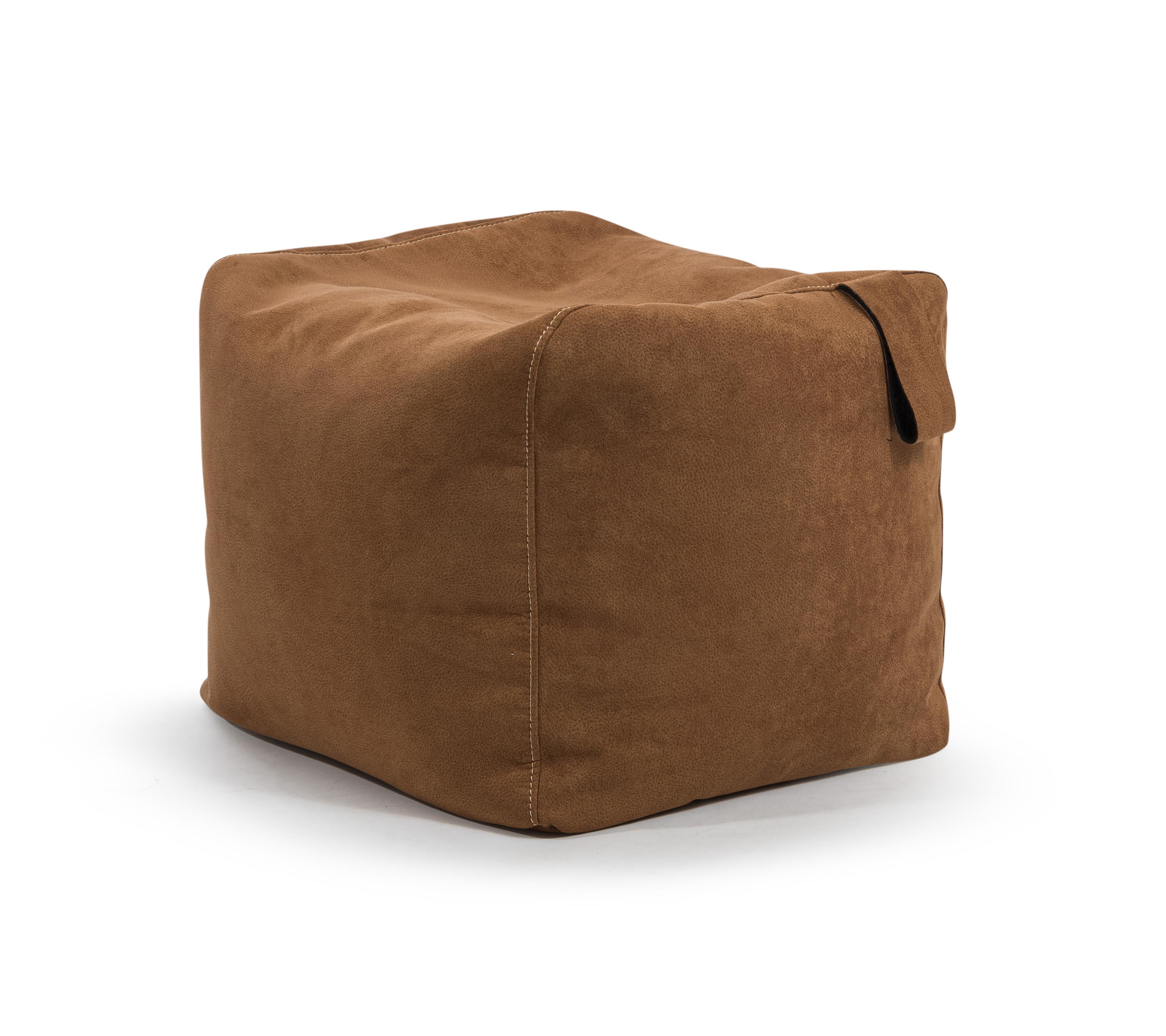 Repose pieds d'intérieur carré aspect cuir col gris foncé 30x50