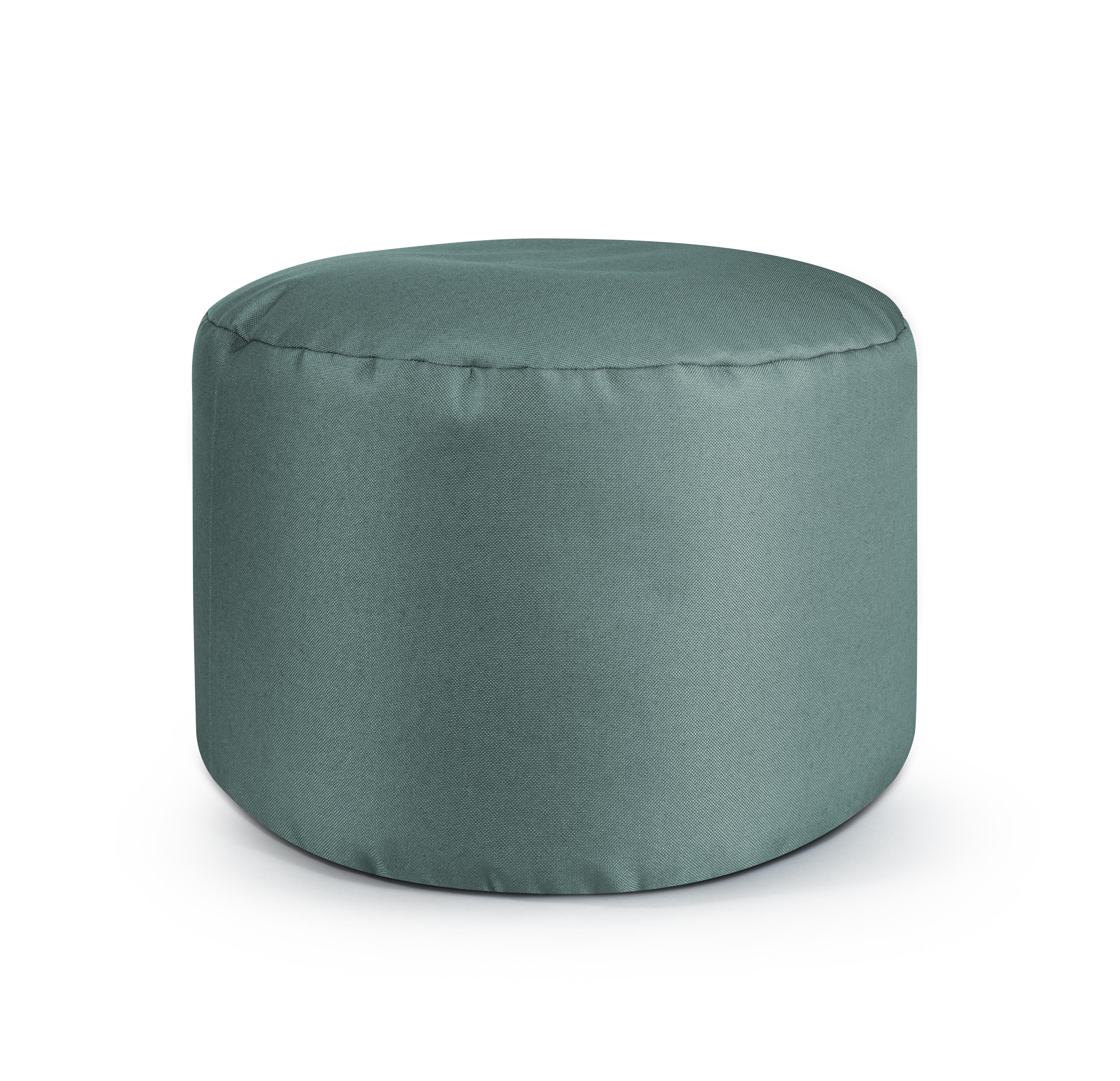 Repose pieds d'intérieur rond en toile design uni vert sauge 30x50