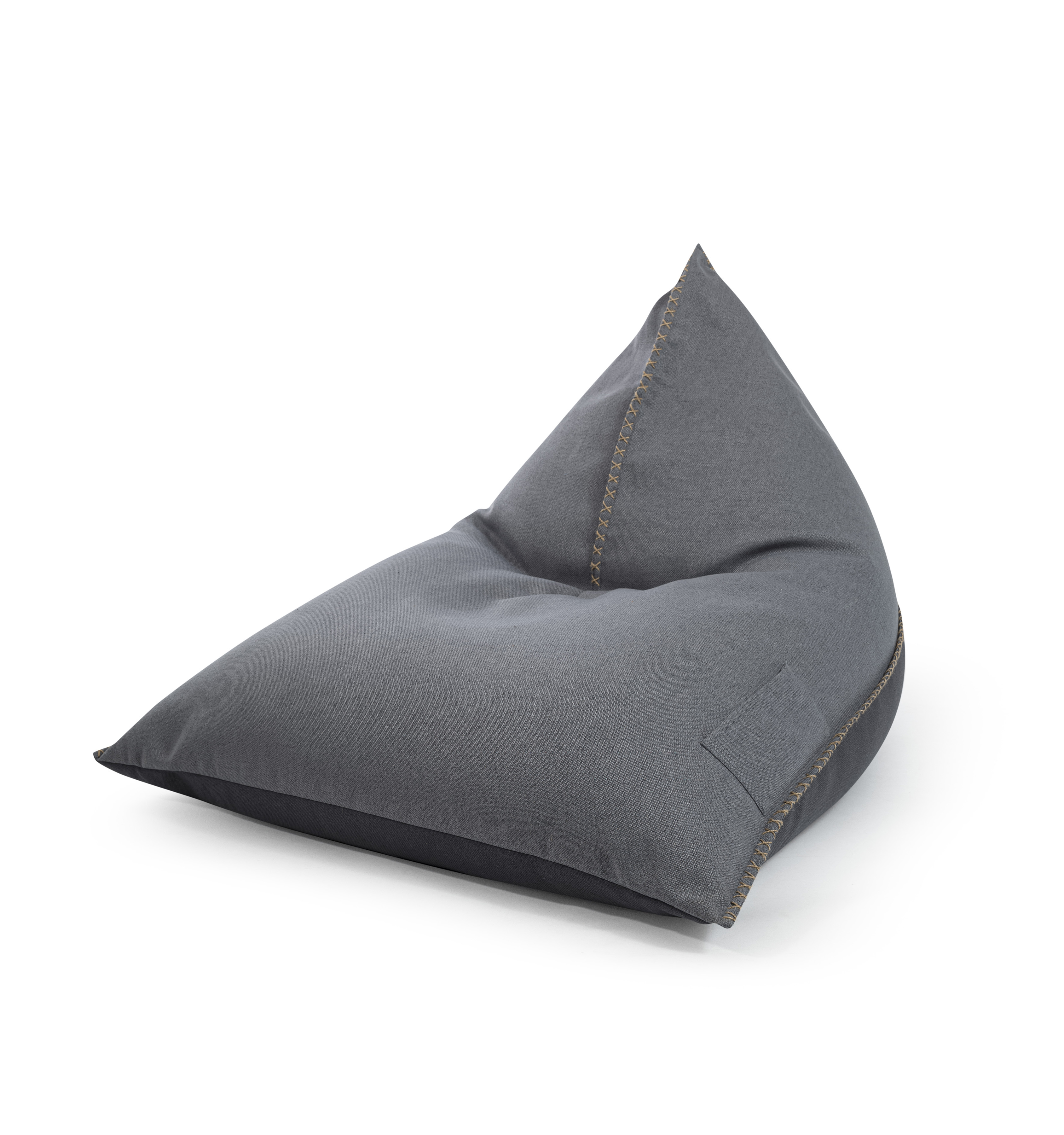 Pouf confort bicolore aspect jean surpiqures et poignée 110x115x90